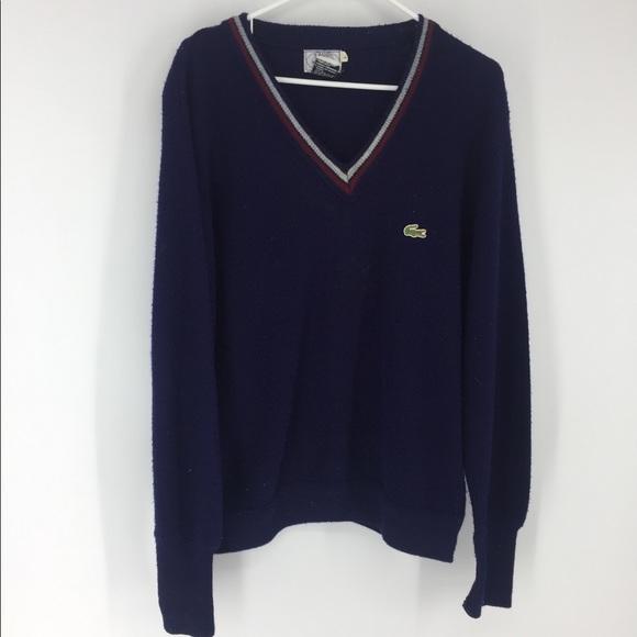 Size X-Large Vintage Men/'s Navy Blue Knit LaCoste Izod Pullover Sweater